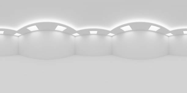 Empty white room with square embedded ceiling lamps HDRI map HDRI environment map of empty white room with white wall, floor and ceiling with square embedded ceiling lamps and hidden ceiling lights, 360 degrees spherical panorama background, 3d illustration 360 degree view stock pictures, royalty-free photos & images