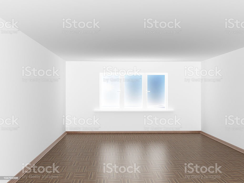 Empty white room with window. 3D image royalty-free stock photo