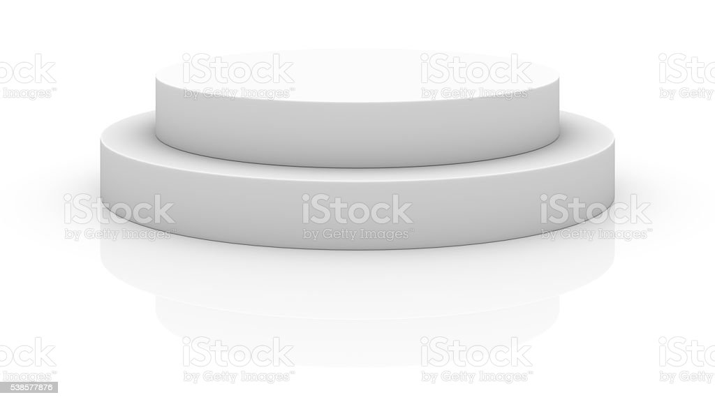 Empty white round podium stock photo