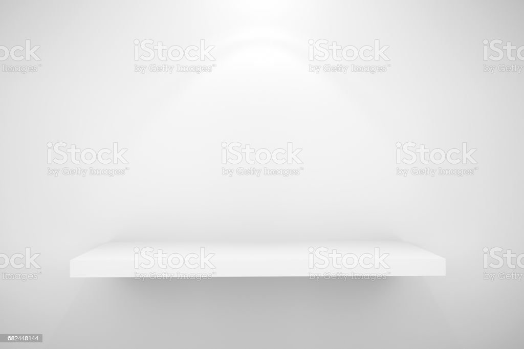 Empty white shelf for exhibit on wall wite lighting effect royalty-free stock photo
