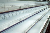 empty shelf for products in the supermarket. Equipment for retail stores.