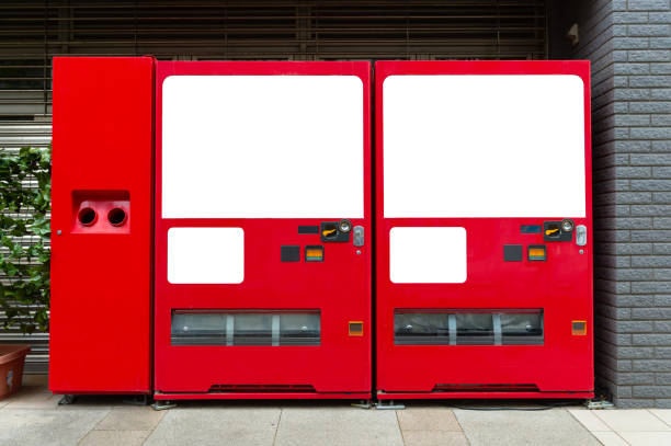 Leere weiße Regale von standard-Office-Automaten – Foto