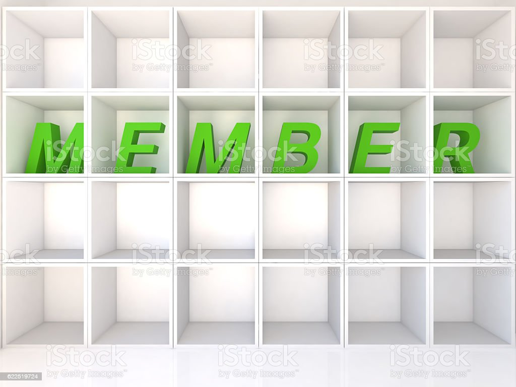 Empty white shelves with member stock photo