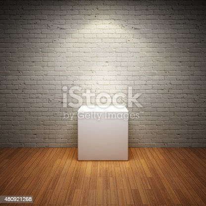 istock Empty white stand in old interior room 480921268