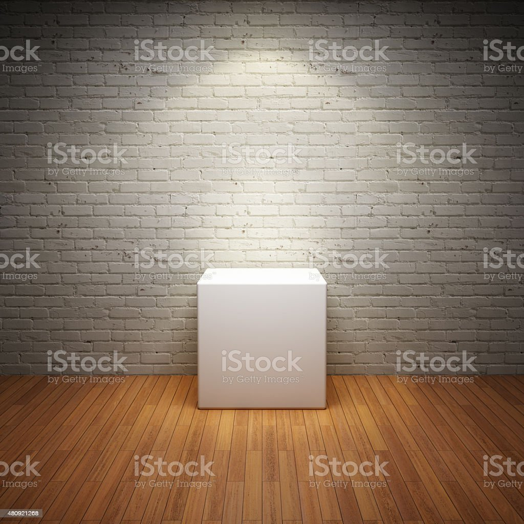 Empty white stand in old interior room stock photo