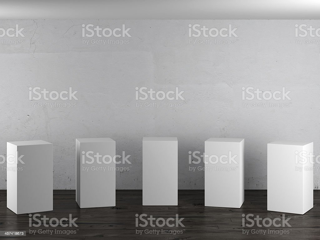 Empty white stands in interior stock photo