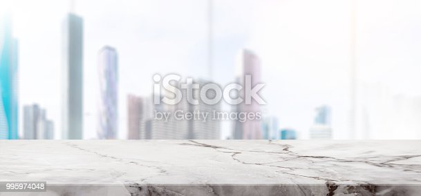 662984906istockphoto Empty white Stone table top and blur glass window wall building banner background with vintage filter - can used for display or montage your products. 995974048
