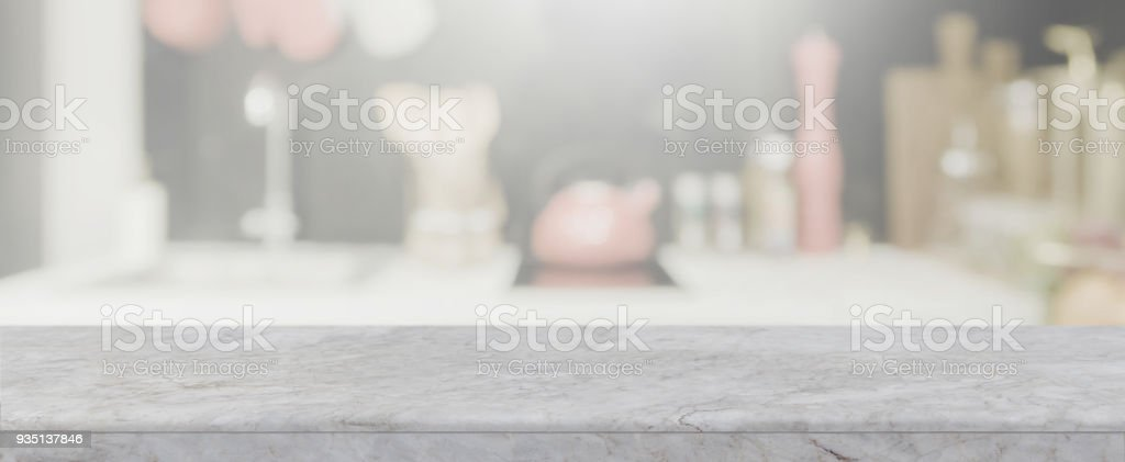 Empty White Stone Table Top And Blurred Kitchen Interior Banner