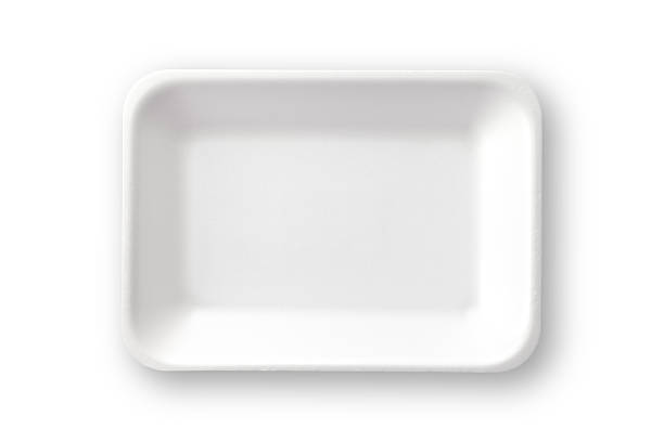 Empty white styrofoam food tray shot directly above. Clipping path Empty white styrofoam food tray shot directly above against white background. Clipping path included. DSRL studio photo taken with Canon EOS 5D Mk II and EF 100mm f/2.8L Macro IS USM polystyrene stock pictures, royalty-free photos & images