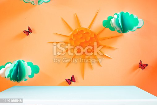 1090975842 istock photo Empty white table in beautiful orange nursery 1149165548