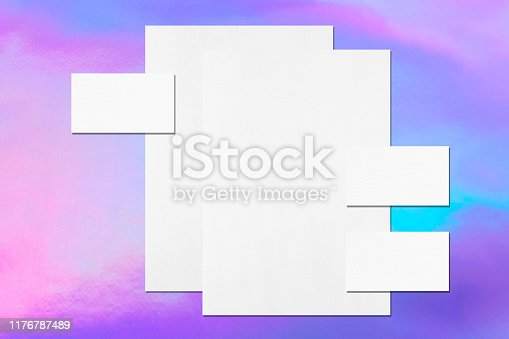 1139340462 istock photo empty white vertical poster and horizontal rectangle business card mockups 1176787489