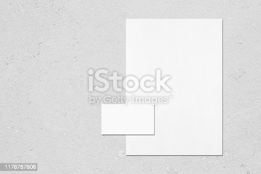 istock empty white vertical poster and horizontal rectangle business card mockup 1176787606