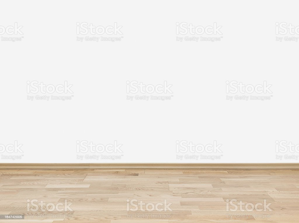 Empty white wall with wooden floor royalty-free stock photo