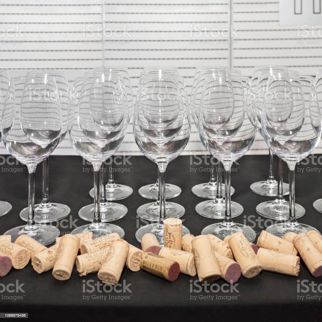 Empty White Wine Glasses Decoration With Wine Corks Stock ...