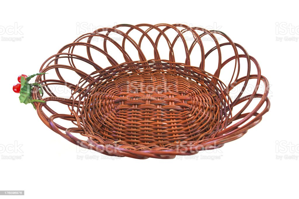 Empty wicker basket isolated on white background royalty-free stock photo