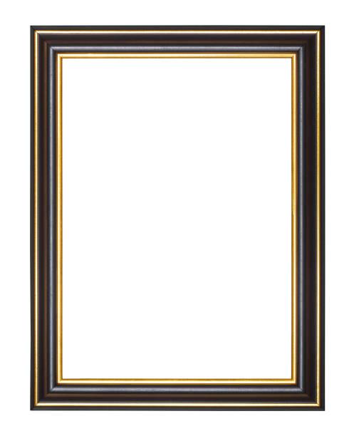 vuoto ampio nero e oro telaio in legno - intelaiatura foto e immagini stock