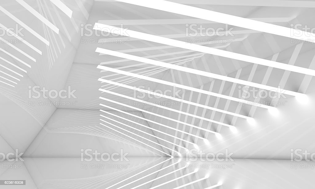 Empty wide white interior, 3 d stock photo