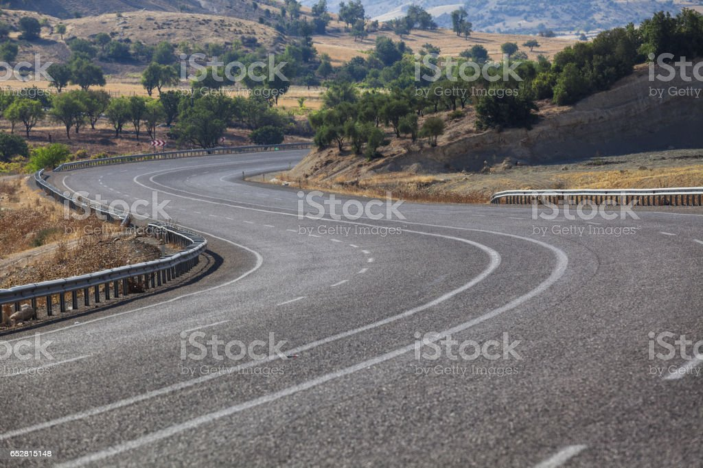 Empty Winding Road In S Shape stock photo