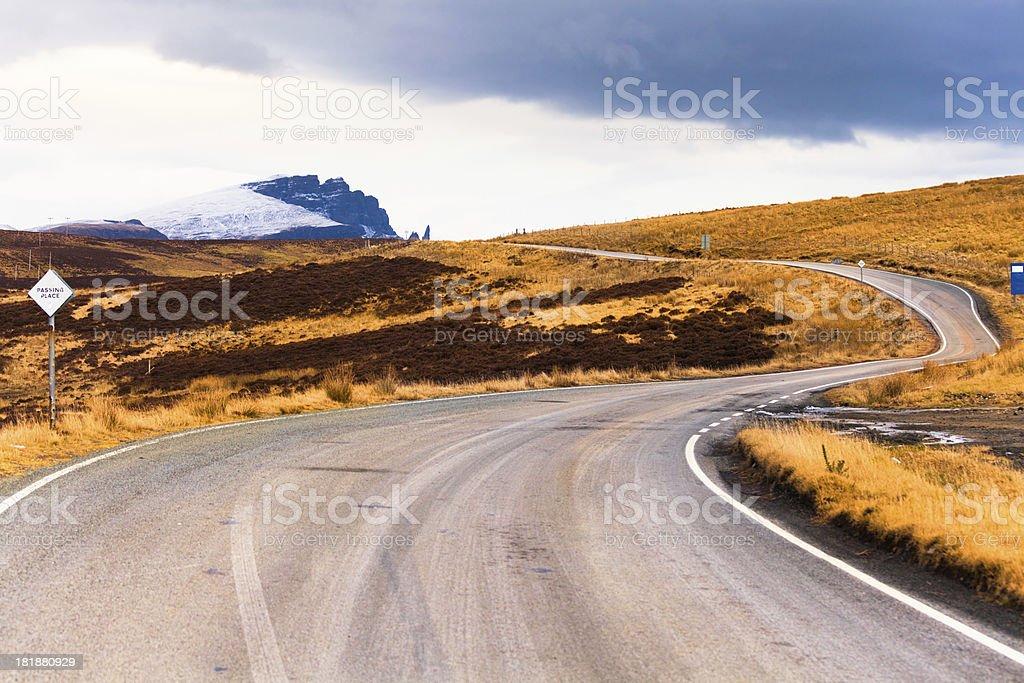 Empty Winding Road in Scotland royalty-free stock photo