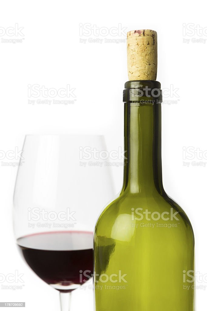 empty wine bottle with glass royalty-free stock photo