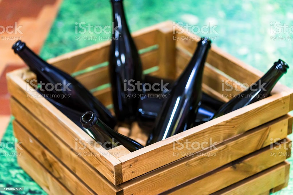 Empty wine bottles in wooden box zbiór zdjęć royalty-free