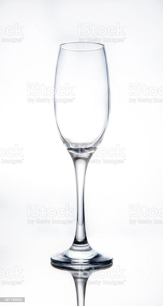 Empty wine glass on white background stock photo