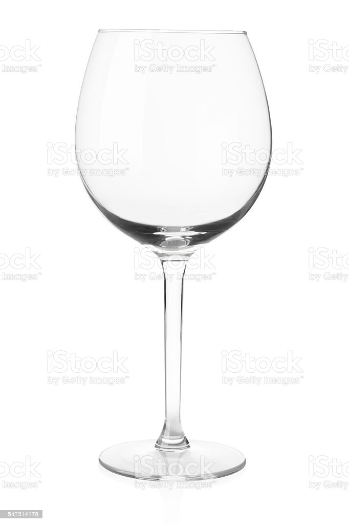 Empty wine glass on white, clipping path stock photo