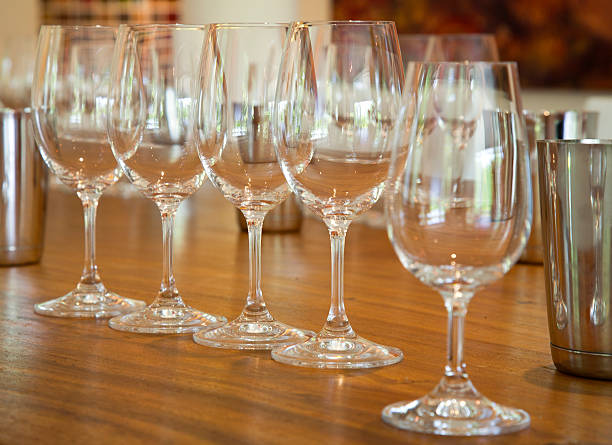 Empty Wine Glasses on a Table stock photo