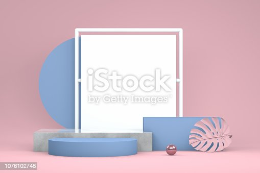 3d rendering abstract still life scene, podium concept, cylinder shapes ,pedestal, showcase, empty.