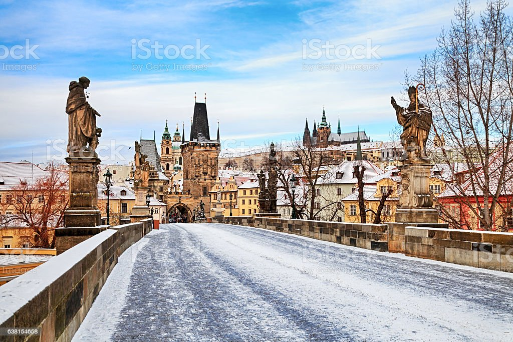 Empty winter Charles Bridge, Prague stock photo