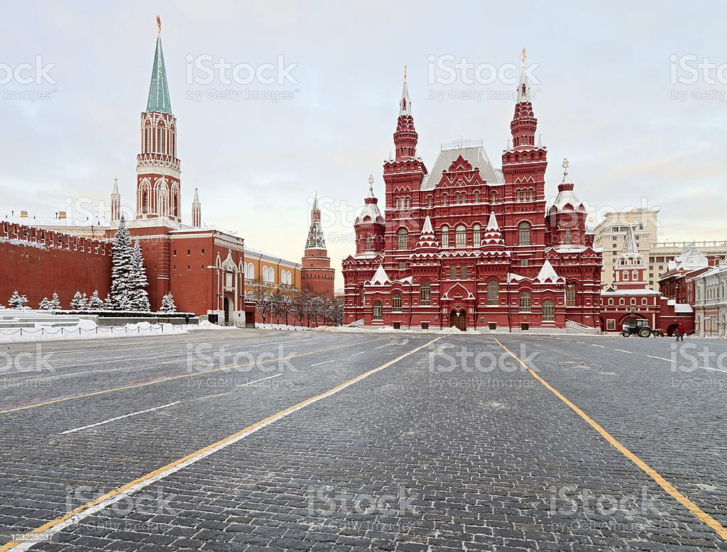 Empty winter Red Square, Moscow, Russia royalty-free stock photo