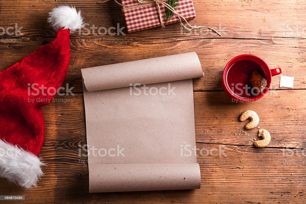 Empty wishlist for Santa stock photo