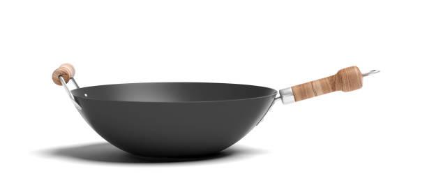 vazio wok com alças de madeira isolado no fundo branco. ilustração 3d - stir fry - fotografias e filmes do acervo