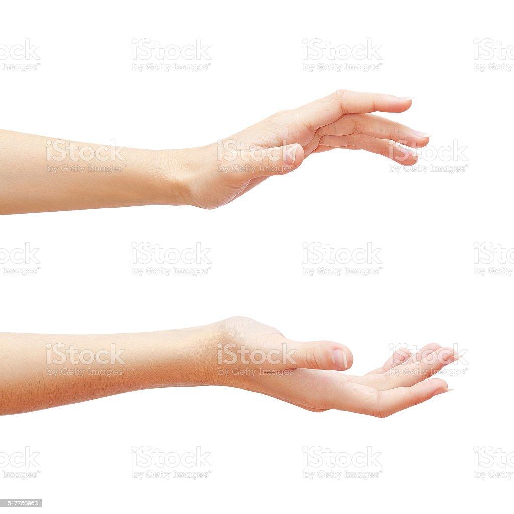 Leere Frau Hände isoliert auf weißem Hintergrund – Foto