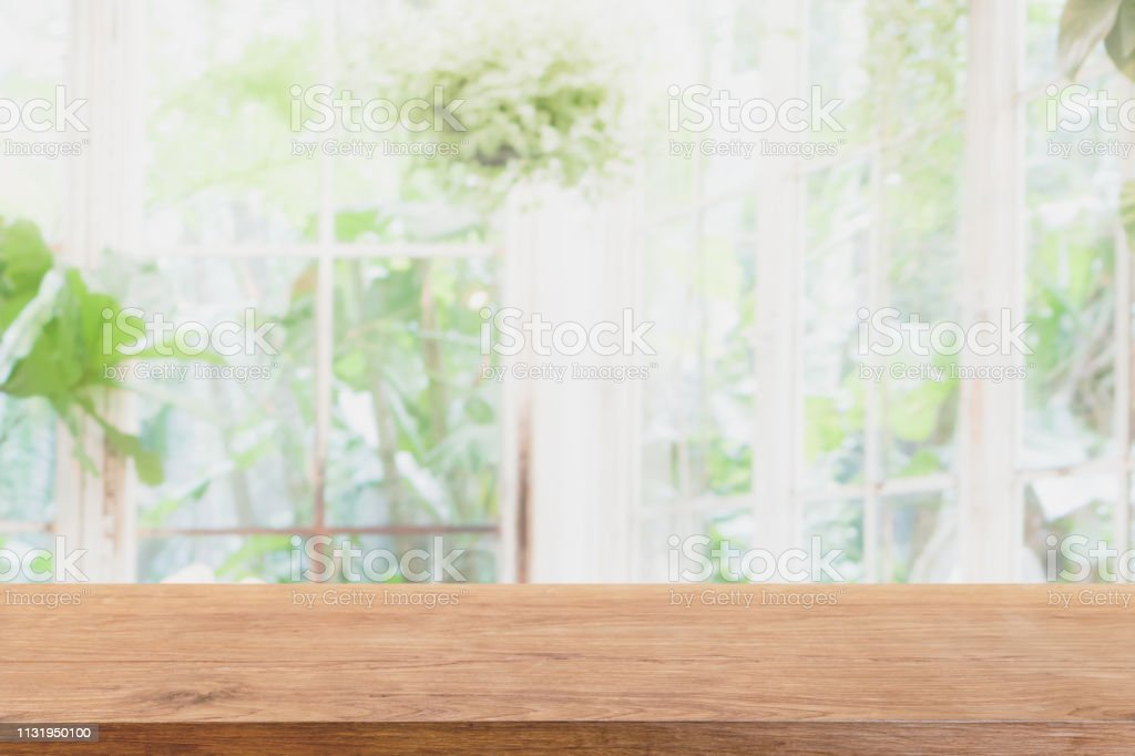 Empty Wood Marble Table Top And Blurred Of Interior Room With Window View Green From Tree Garden Background Background Can Used For Display Or Montage Your Products Stock Photo Download Image
