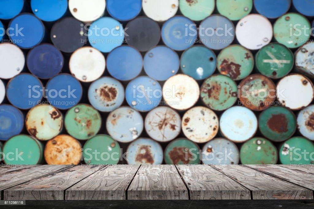 Empty wood Shelf on old steel tank background stock photo