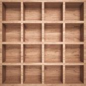 Empty wood shelf , full frame , 3d render