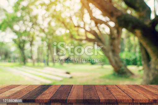 istock Empty wood table and defocused bokeh and blur background of garden trees in sunlight. display montage for product. 1215509555