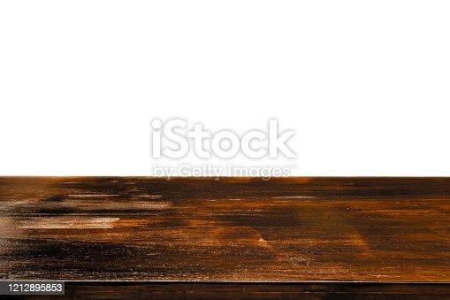 642100994 istock photo Empty wood table isolated on white backgroud 1212895853