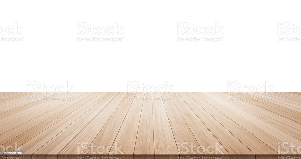 Empty wood table isolated on white background stock photo