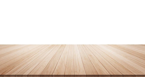 empty wood table isolated on white background - diminishing perspective stock photos and pictures