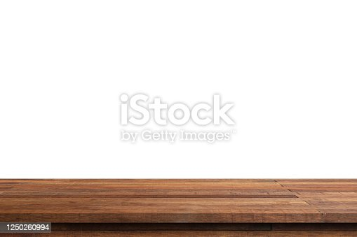 istock Empty wood table on isolate white background and display montage with copy space for product. 1250260994