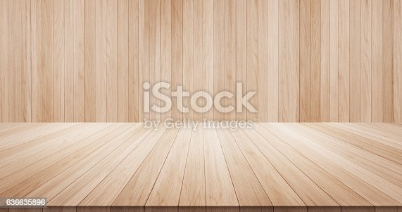 Empty wood table top on wood background for display or montage product