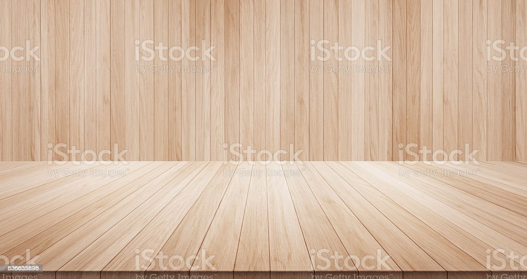 Empty wood table on wood background – Foto