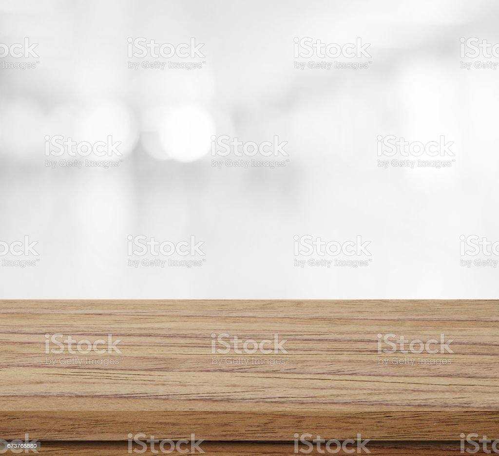 Empty wood table over blur bokeh, vintage, background, template, product display montage photo libre de droits