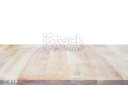 istock Empty wood table top isolated on white background 1174987836