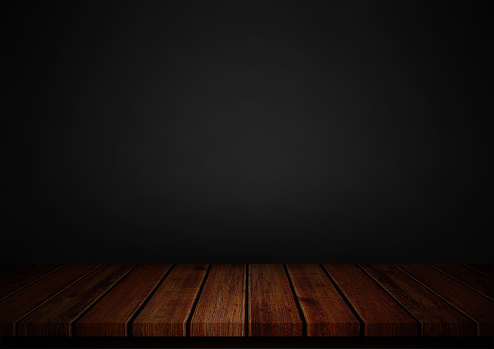 istock Empty wood table top on black background, Template mock up for display of product 1091154518