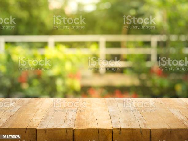 Empty wood table top on blur abstract garden and house background picture id931579928?b=1&k=6&m=931579928&s=612x612&h=ytfsu1eefklz9k6dngqmrpvjdoxnnh8sfcol8j683jw=