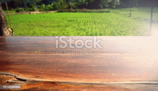862429776 istock photo Empty wood table top on blur abstract green from garden in morning background. can be used for display or montage your products 1014536994