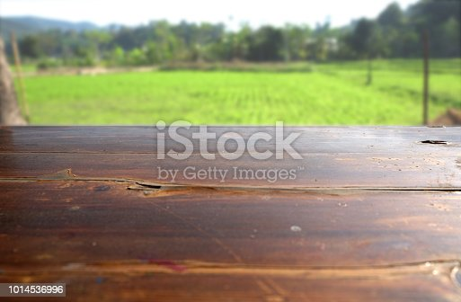 862429776 istock photo Empty wood table top on blur abstract green from garden in morning background. can be used for display or montage your products 1014536996